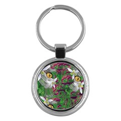 Illustrations Color Cat Flower Abstract Textures Key Chain (round) by Alisyart