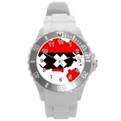 Flag Map Of Amsterdam Round Plastic Sport Watch (l) by abbeyz71
