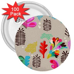 Scandinavian Foliage Fun 3  Buttons (100 Pack)  by andStretch