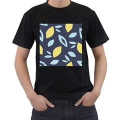Laser Lemon Navy Men s T-shirt (black) (two Sided)
