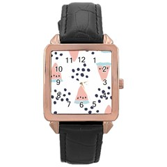 Watermelon Slice Rose Gold Leather Watch  by andStretch