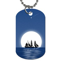 Boat Silhouette Moon Sailing Dog Tag (one Side)