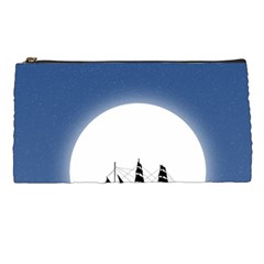 Boat Silhouette Moon Sailing Pencil Case