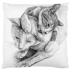 Cat Drawing Art Large Cushion Case (two Sides)