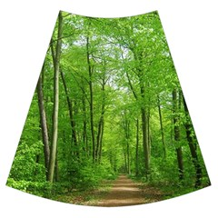 In The Forest The Fullness Of Spring, Green, Maxi Chiffon Skirt