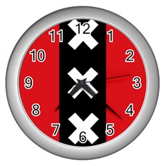 Vertical Amsterdam Flag Wall Clock (silver) by abbeyz71