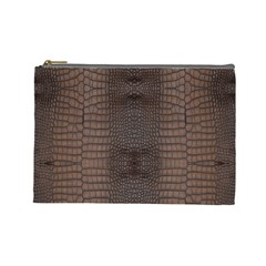 Brown Alligator Leather Skin Cosmetic Bag (large) by LoolyElzayat