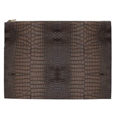 Brown Alligator Leather Skin Cosmetic Bag (xxl) by LoolyElzayat