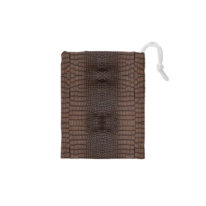 Brown Alligator Leather Skin Drawstring Pouch (XS)