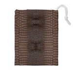 Brown Alligator Leather Skin Drawstring Pouch (XL) Front