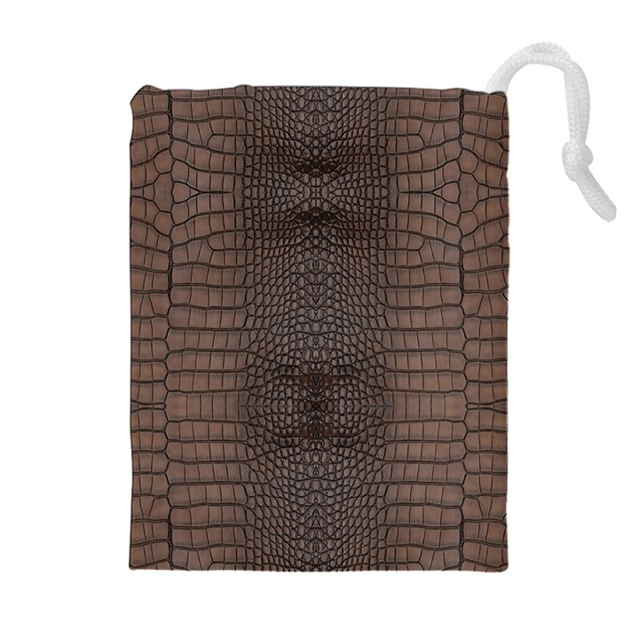 Brown Alligator Leather Skin Drawstring Pouch (XL)