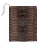 Brown Alligator Leather Skin Drawstring Pouch (XL) Back