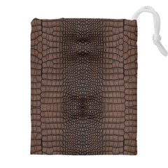 Brown Alligator Leather Skin Drawstring Pouch (4xl) by LoolyElzayat