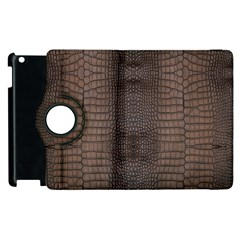 Brown Alligator Leather Skin Apple Ipad 2 Flip 360 Case by LoolyElzayat