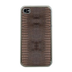 Brown Alligator Leather Skin Iphone 4 Case (clear) by LoolyElzayat
