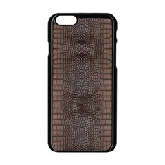 Brown Alligator Leather Skin Iphone 6/6s Black Enamel Case by LoolyElzayat