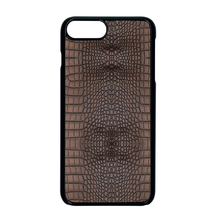 Brown Alligator Leather Skin iPhone 8 Plus Seamless Case (Black)