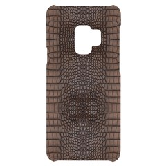 Brown Alligator Leather Skin Samsung S9 Black Uv Print Case by LoolyElzayat
