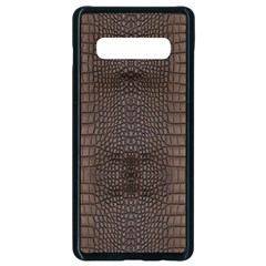 Brown Alligator Leather Skin Samsung Galaxy S10 Plus Seamless Case (black) by LoolyElzayat
