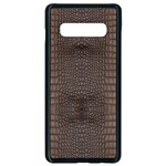 Brown Alligator Leather Skin Samsung Galaxy S10 Plus Seamless Case (Black) Front