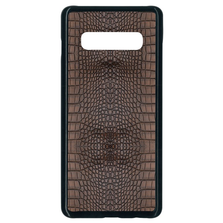 Brown Alligator Leather Skin Samsung Galaxy S10 Plus Seamless Case (Black)