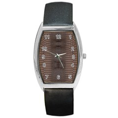 Brown Alligator Leather Skin Barrel Style Metal Watch by LoolyElzayat