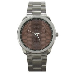 Brown Alligator Leather Skin Sport Metal Watch by LoolyElzayat