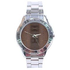 Brown Alligator Leather Skin Stainless Steel Analogue Watch by LoolyElzayat