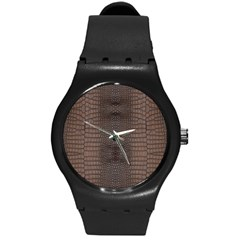Brown Alligator Leather Skin Round Plastic Sport Watch (m) by LoolyElzayat