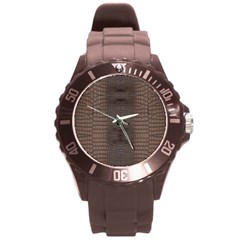 Brown Alligator Leather Skin Round Plastic Sport Watch (l) by LoolyElzayat
