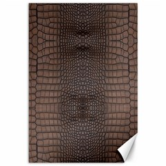 Brown Alligator Leather Skin Canvas 12  X 18