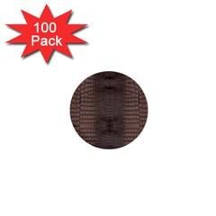 Brown Alligator Leather Skin 1  Mini Buttons (100 Pack)  by LoolyElzayat