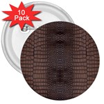 Brown Alligator Leather Skin 3  Buttons (10 pack)  Front