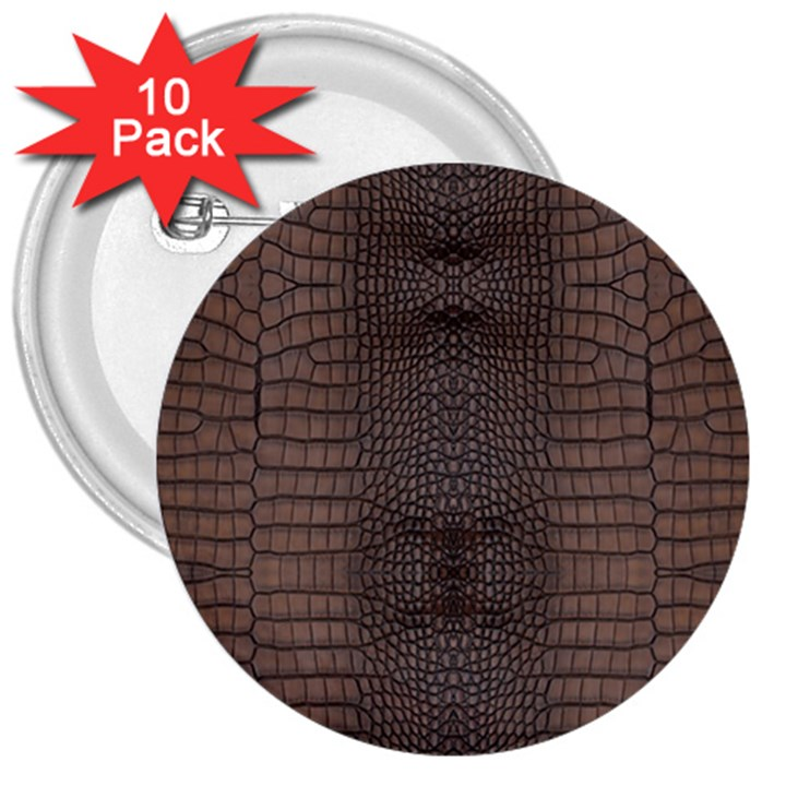 Brown Alligator Leather Skin 3  Buttons (10 pack)