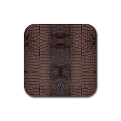 Brown Alligator Leather Skin Rubber Square Coaster (4 Pack)  by LoolyElzayat