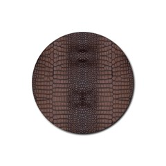 Brown Alligator Leather Skin Rubber Coaster (round)  by LoolyElzayat