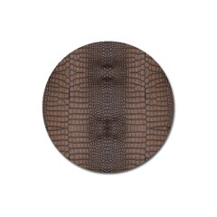 Brown Alligator Leather Skin Magnet 3  (round) by LoolyElzayat