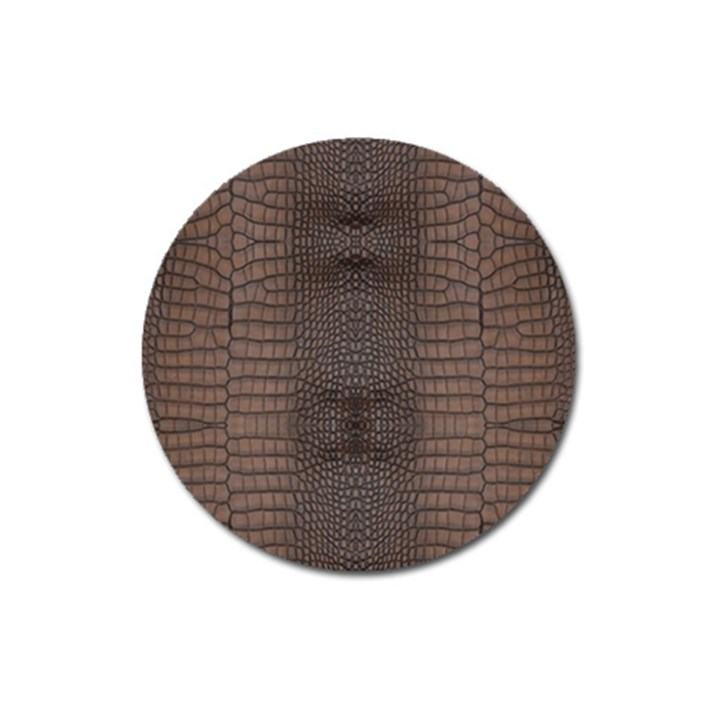 Brown Alligator Leather Skin Magnet 3  (Round)