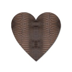 Brown Alligator Leather Skin Heart Magnet by LoolyElzayat