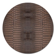 Brown Alligator Leather Skin Magnet 5  (round) by LoolyElzayat