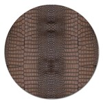 Brown Alligator Leather Skin Magnet 5  (Round) Front