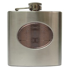 Brown Alligator Leather Skin Hip Flask (6 Oz) by LoolyElzayat