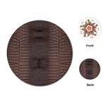 Brown Alligator Leather Skin Playing Cards Single Design (Round) Front
