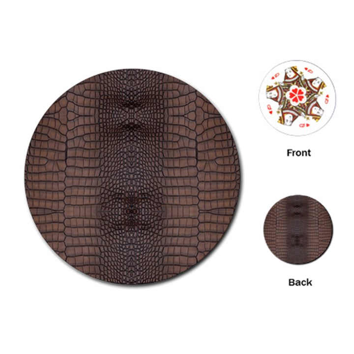 Brown Alligator Leather Skin Playing Cards Single Design (Round)