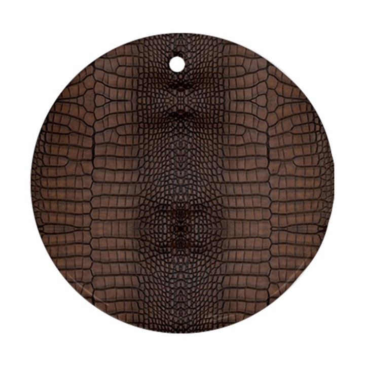 Brown Alligator Leather Skin Round Ornament (Two Sides)