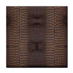 Brown Alligator Leather Skin Face Towel by LoolyElzayat