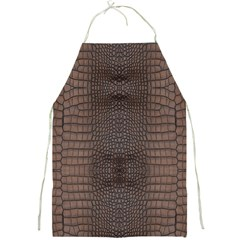 Brown Alligator Leather Skin Full Print Apron by LoolyElzayat