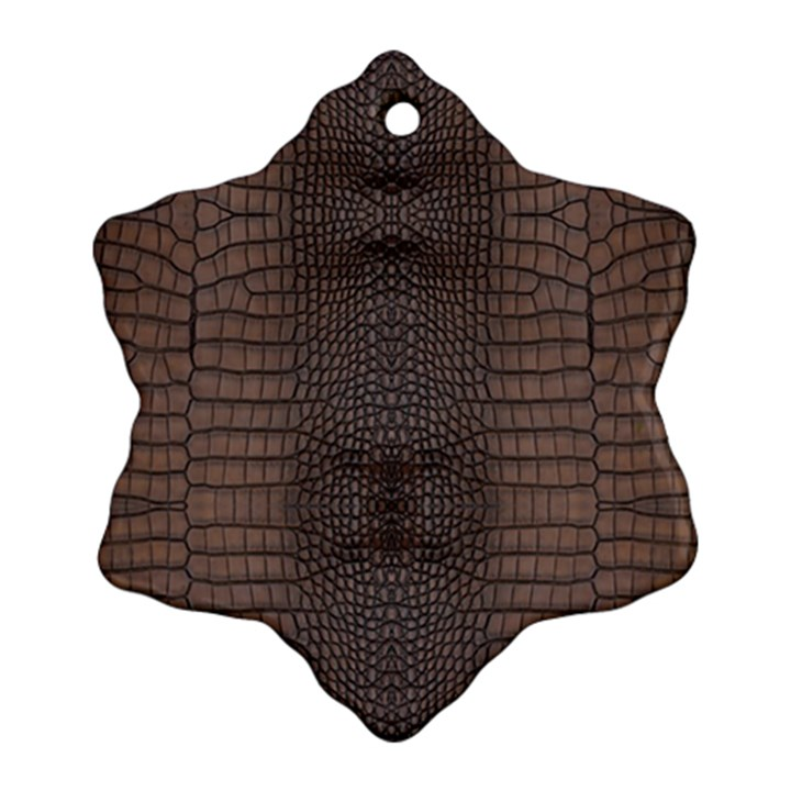 Brown Alligator Leather Skin Ornament (Snowflake)