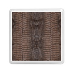 Brown Alligator Leather Skin Memory Card Reader (square) by LoolyElzayat