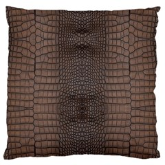 Brown Alligator Leather Skin Large Cushion Case (two Sides) by LoolyElzayat